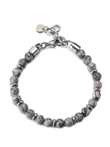Map stone Titanium Steel Obsidian Geometric Vintage Beaded Bracelet