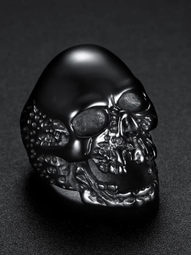 black Stainless steel Skull Vintage Band Ring