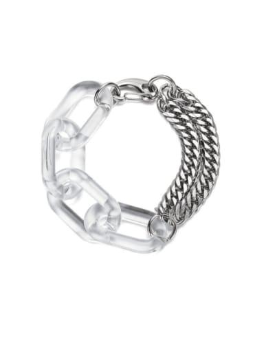 Titanium Steel Acrylic Geometric Hip Hop Link Bracelet
