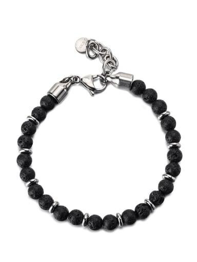 Titanium Steel Obsidian Geometric Vintage Beaded Bracelet