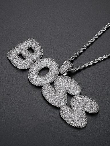 Platinum 76cm twist chain Brass Cubic Zirconia Letter Hip Hop Necklace