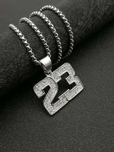 Silver Necklace Titanium digital Rhinestone Irregular Hip Hop Number Necklace