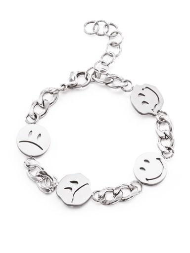 Titanium Steel Smiley Minimalist Link Bracelet