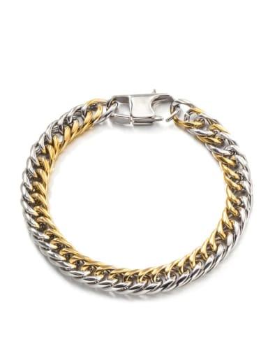 Medium gold (8mm*21cm) Titanium Steel Irregular Hip Hop Link Bracelet
