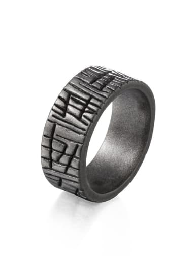 Black (size 6) Titanium Steel Irregular Ethnic Band Ring