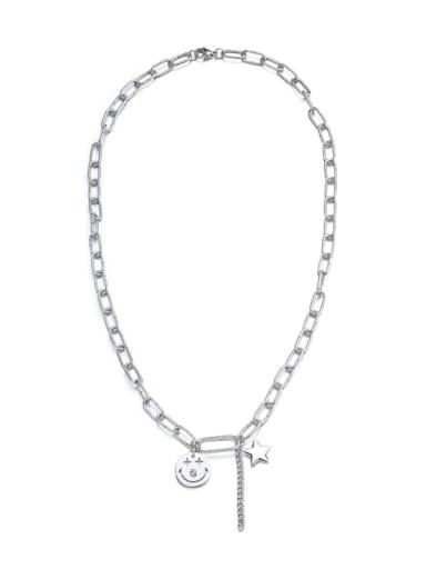 Titanium Steel Cross Hip Hop Hollow Chain  Necklace