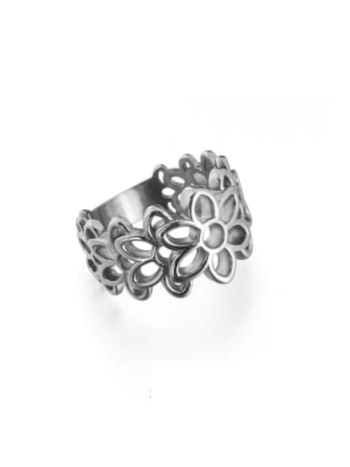 Titanium Steel Flower Vintage Band Ring