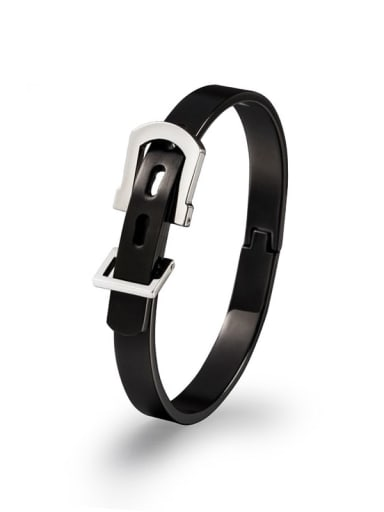 Black small Titanium Steel Irregular Hip Hop Belt buckle  Band Bangle