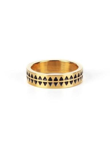 Gold (size 6) Titanium Steel Enamel Round Vintage Band Ring