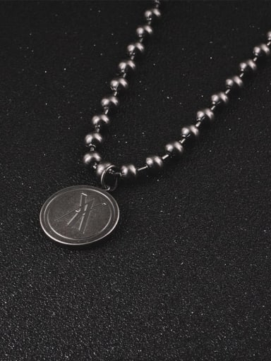 Titanium Steel Geometric Hip Hop Beaded Necklace