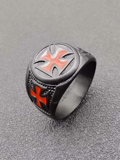 Titanium Steel Enamel Cross Vintage Band Ring