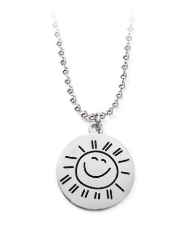 Titanium Steel Smiley Hip Hop Long Strand Necklace