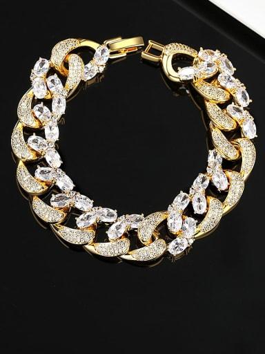 Brass Cubic Zirconia Irregular Chain Hip Hop Link Bracelet