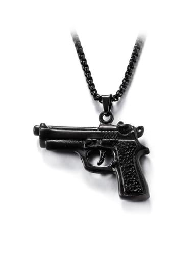 Gun black (chain length 66cm) Titanium Steel Irregular Hip Hop Necklace
