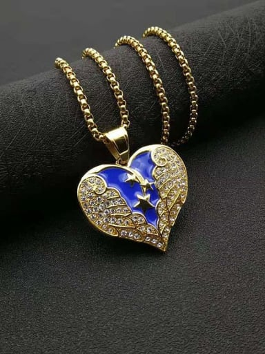 Gold Titanium Steel Cubic Zirconia Enamel Heart Vintage Necklace
