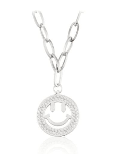 Titanium Steel Rhinestone Geometric Hip Hop Necklace