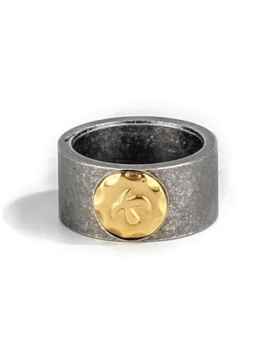 Antique  (size 7) Titanium Steel Geometric Ethnic Band Ring
