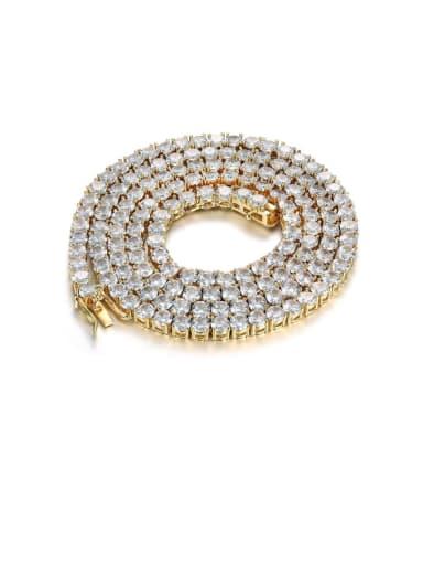 Gold Chain:4mm*61cm Brass Cubic Zirconia Cross Vintage Regligious Necklace