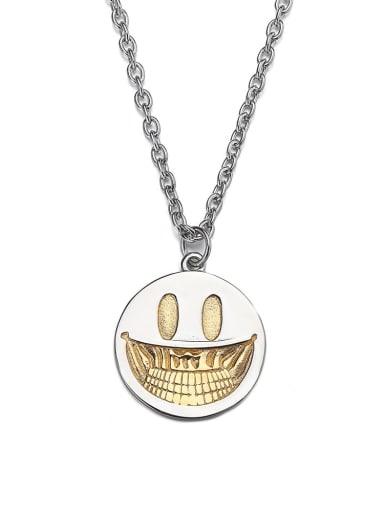 Steel color Titanium Steel Hip Hop Demon Smiley Necklace