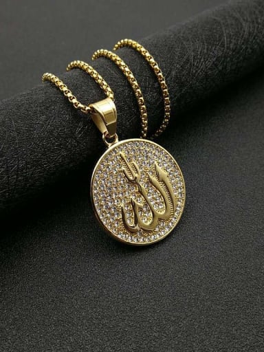 Gold Chain 3mm *61cm Titanium Steel Rhinestone Round Vintage Necklace