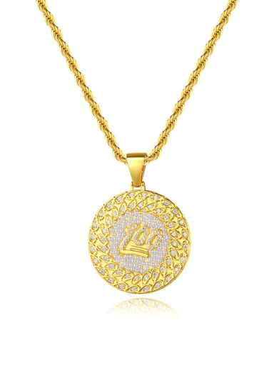 Brass Cubic Zirconia Round Hip Hop Necklace