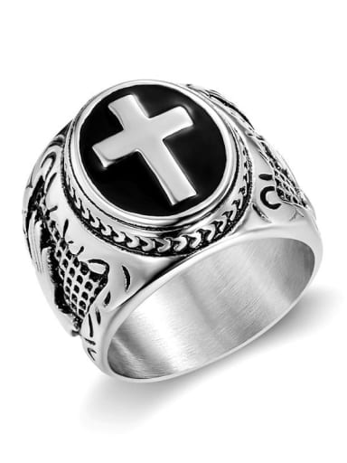 Silver US Titanium Hand Of Gold Hip Hop Band Ring For Men