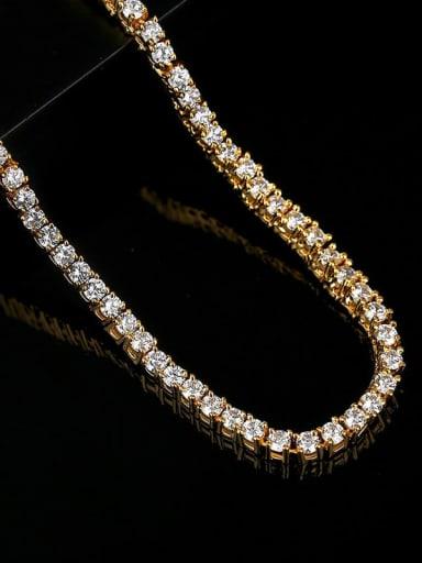 N20071803 5* 46cm 18K T20H17 Brass Cubic Zirconia Geometric Hip Hop Necklace