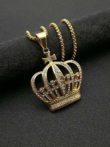 Gold+Chain:3mm*61cm Titanium Steel Rhinestone Crown Vintage Necklace