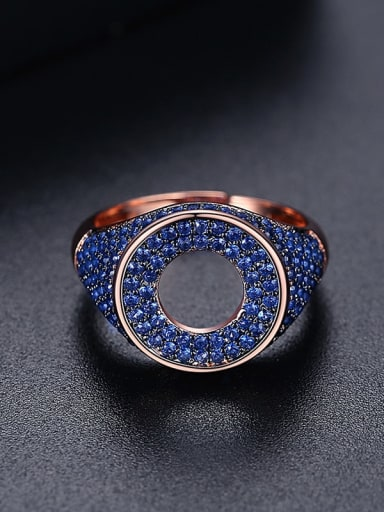 Blue t17a20 Brass Cubic Zirconia Round Hip Hop Band Ring