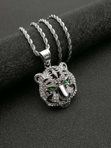 Silver necklace Titanium Rhinestone Vintage Tiger Pendant necklace