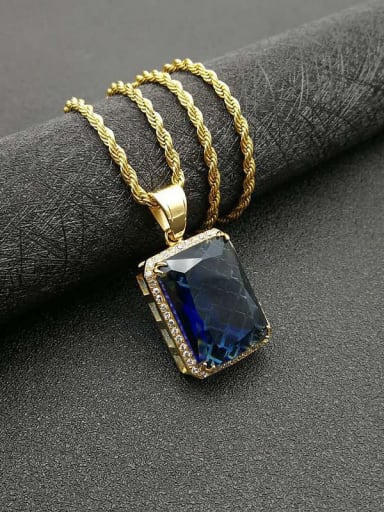 Gold Blue Stone  necklace Titanium Vintage Geometric  Glass stone  Necklace
