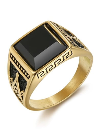 Gold us Titanium Square Vintage Band Ring