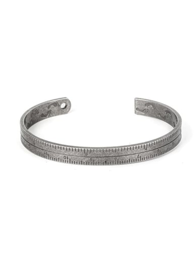 Ancient Titanium Steel Number Vintage Cuff Bangle