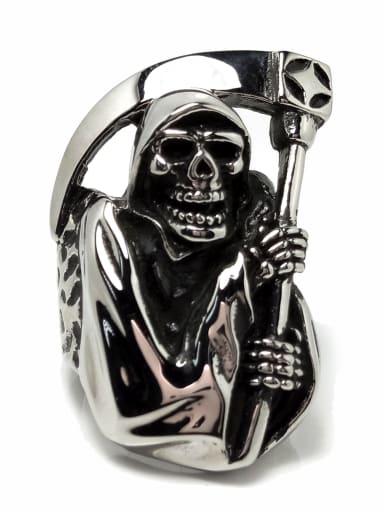 Titanium Steel Skull Vintage Band Ring For Men