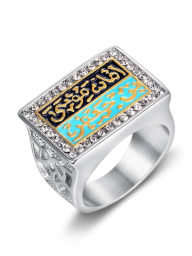 Two color Titanium Steel Enamel Geometric Vintage Band Ring