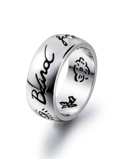 White Titanium Steel Flower Vintage Band Ring