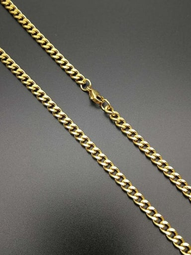 Gold Chain:5mm*70cm Titanium Steel Enamel Irregular Vintage Necklace