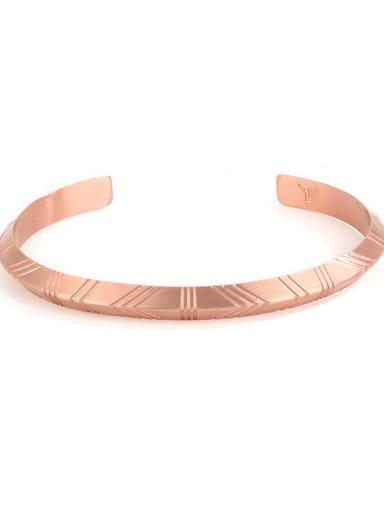 Rose Gold Titanium Steel Geometric Vintage Cuff Bangle