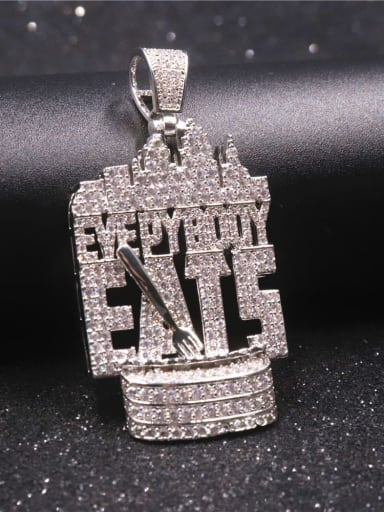 Silver with chain Copper Letter Cubic Zirconia Irregular Hip Hop Initials Pendant  Necklace