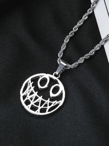 Titanium Steel Hip Hop Devil Smiley Long Strand Necklace