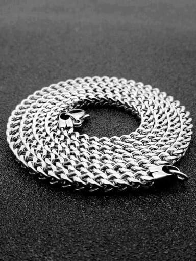 Steel:4mm*70cm Titanium Steel Hollow Geometric Chain Vintage Cable Chain