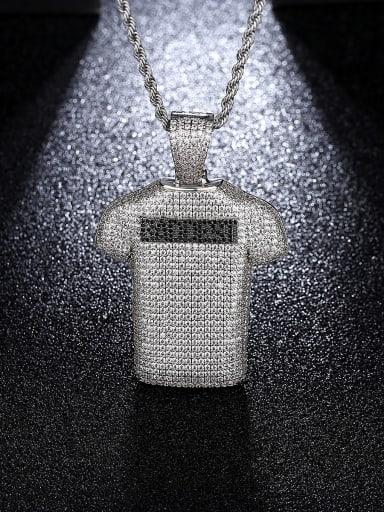 Platinum 30in 76cm twist chain Brass Cubic Zirconia Irregular Hip Hop Necklace