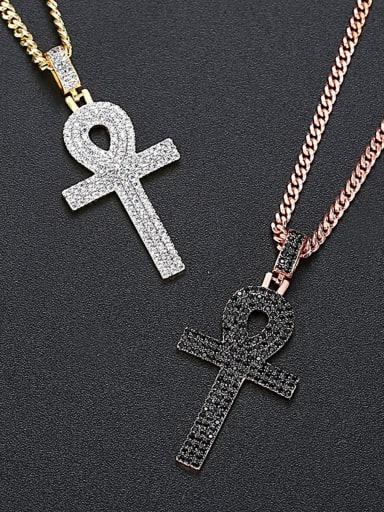 Copper Cubic Zirconia Key Hip Hop Necklace