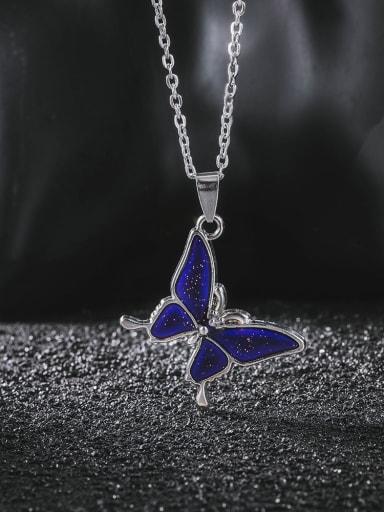 Titanium Steel Enamel Butterfly Minimalist Necklace
