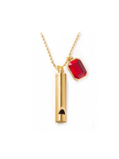 golden Titanium Steel Glass Stone Geometric Minimalist Long Strand Necklace