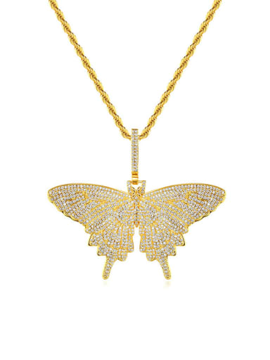 Brass Cubic Zirconia Butterfly Hip Hop Necklace