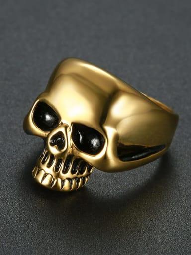 golden Titanium Skull Statement  Ring