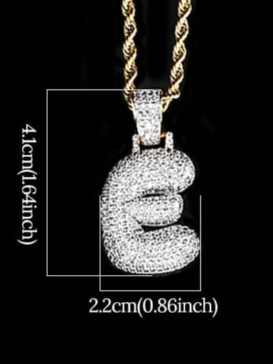 E 24in 61cm T20I05 T20A02 Brass Cubic Zirconia Message Hip Hop Necklace