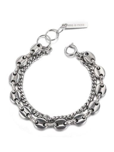 Titanium Steel Geometric Vintage Strand Bracelet