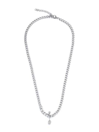 Titanium Steel Bead Round Hip Hop Necklace